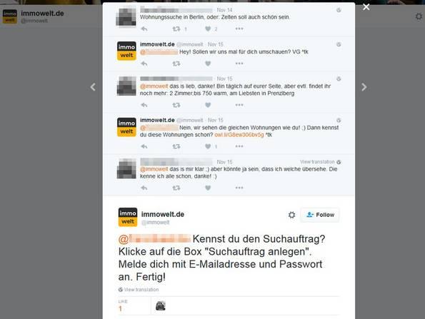 Social Media, Social Media Makler, Kundenbindung, Screenshot: twitter.com/immowelt
